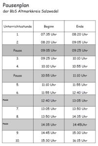 Pausenplan der BbS Salzwedel